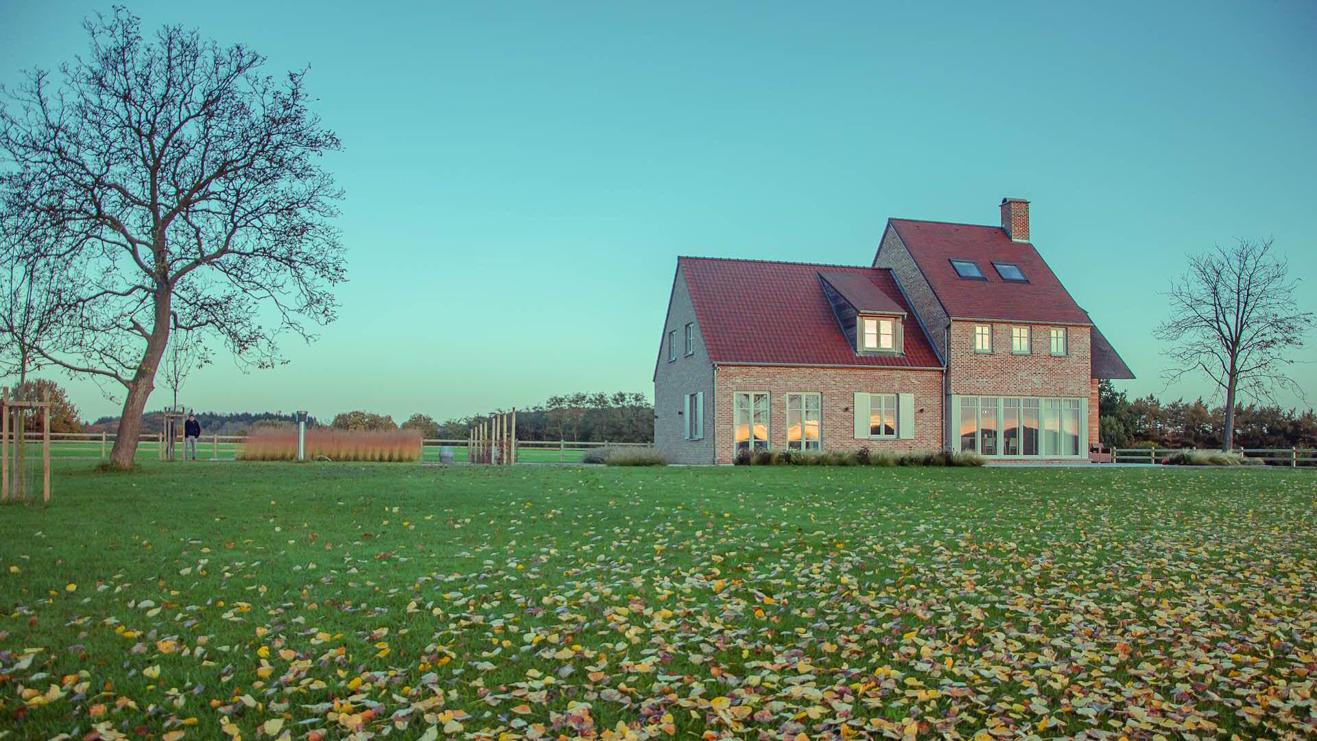 grote tuin, aanleg, grasveld, villa